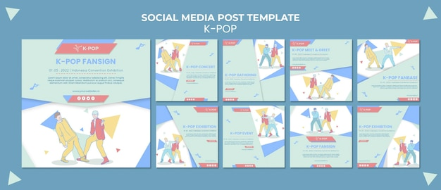 Illustrated k-pop instagram posts template