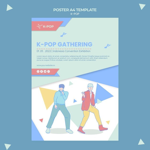 Illustrated k-pop poster template