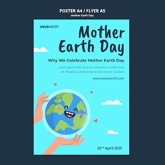 Illustrated mother earth day print template