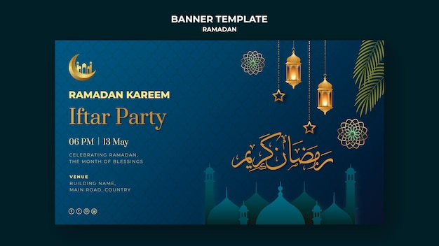 Illustrated ramadan banner template