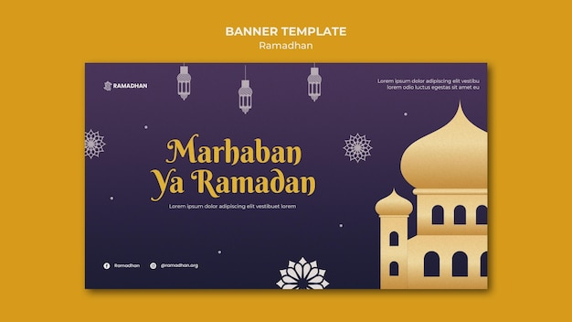 Illustrated ramadan kareem banner template