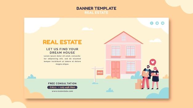 Modello di banner illustrato immobiliare