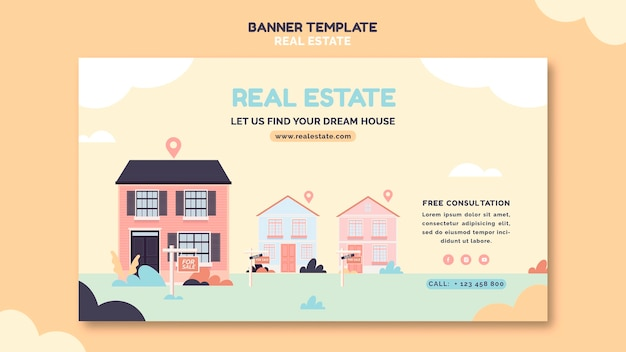 Illustrated real estate banner template