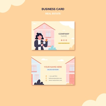 Illustrated real estate business card