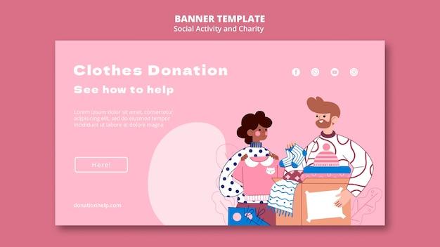 Иллюстрированный шаблон социальной активности и благотворительного баннера