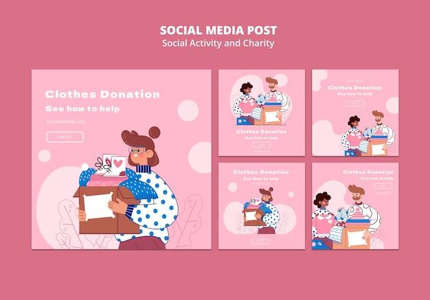 Иллюстрированные публикации в инстаграмм о социальной активности и благотворительности