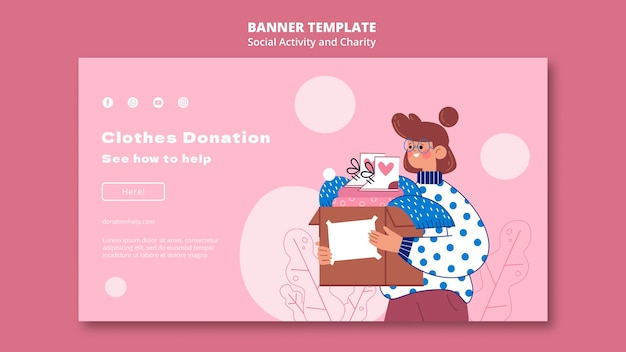 Illustrated social activity and charity banner template Free Psd