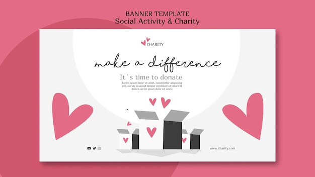 Illustrated social activity and charity banner template