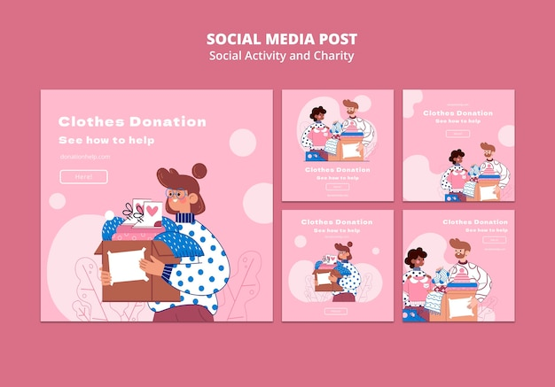 Attività sociali illustrate e post di instagram di beneficenza