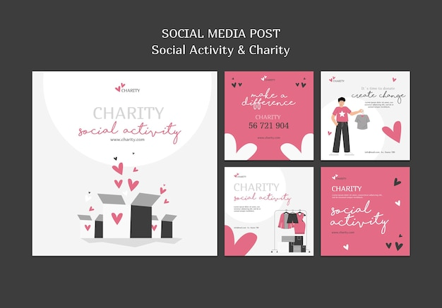 Illustrated social activity and charity instagram posts