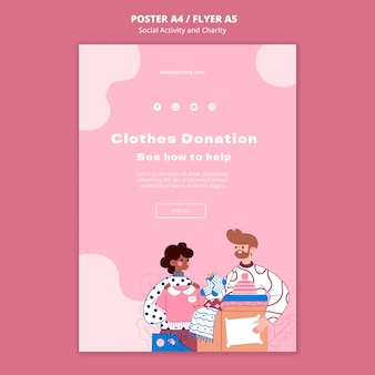 Illustrated social activity and charity print template