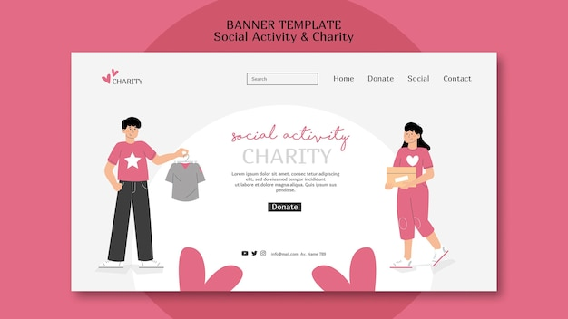 Illustrated social activity and charity web template