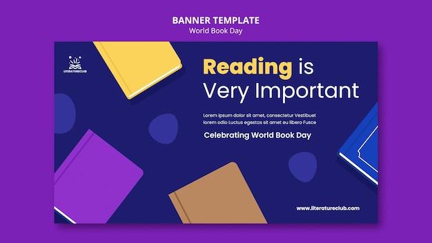 Иллюстрированный шаблон баннера всемирного дня книги