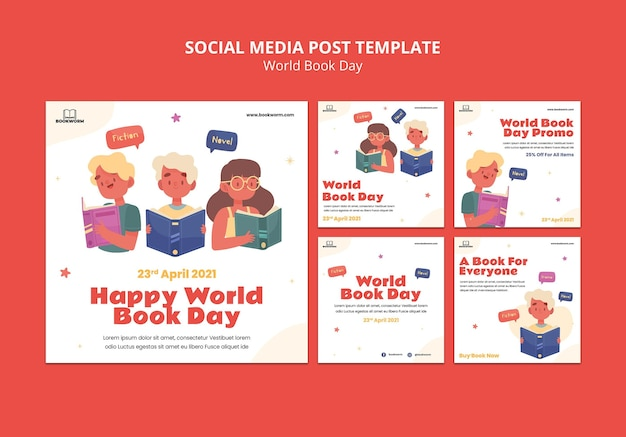 Illustrated world book day instagram posts