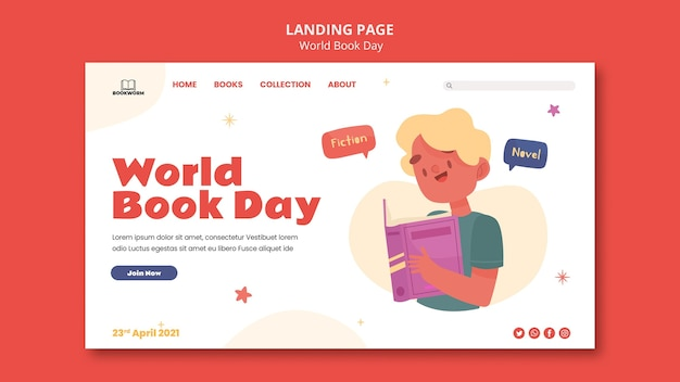 Illustrated world book day landing page