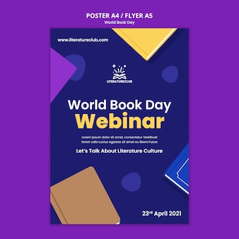 Illustrated world book day poster template