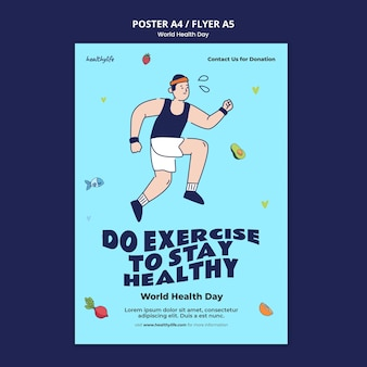 Шаблон печати иллюстрированный всемирный день здоровья