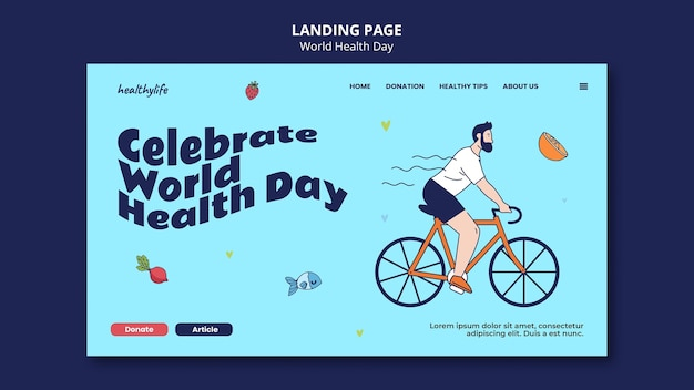 Illustrated world health day web template