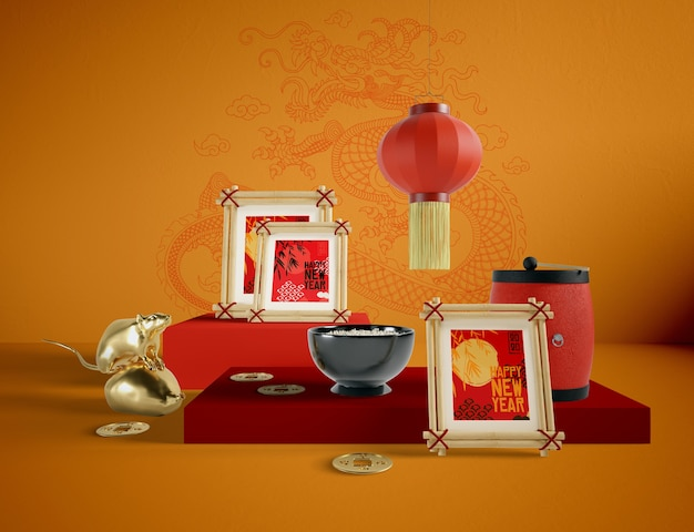 Illustration of chinese new year objects