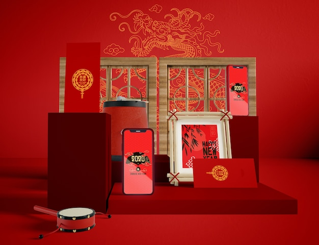 Illustration of  chinese new year traditional objects
