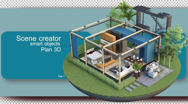 Illustration of interior floor plan and architecture