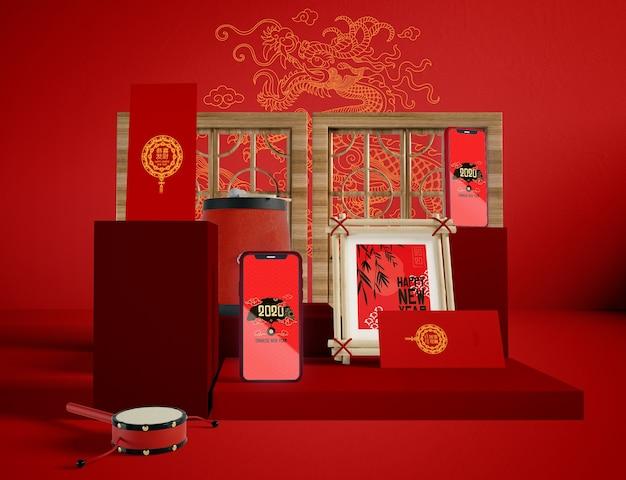 Иллюстрация китайского нового года традиционных объектов