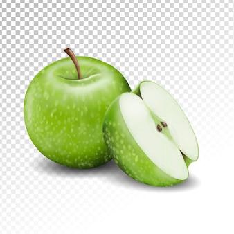 Иллюстрация зеленого яблока и полупрозрачный