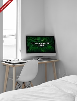 Imac in room psd mockup