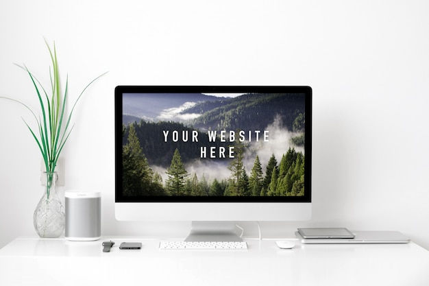 Imac workspace psd mockup