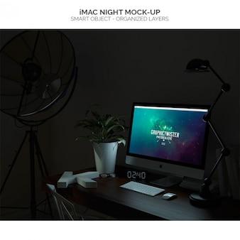 Imacの夜のモックアップ