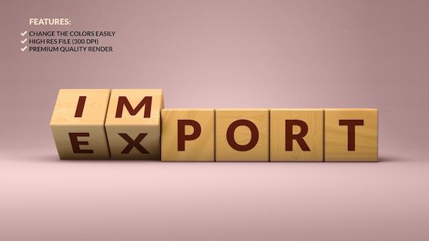 Импорт экспорт деревянных кубиков в 3d рендеринге