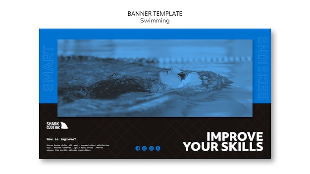 Improve skills banner swimming club template