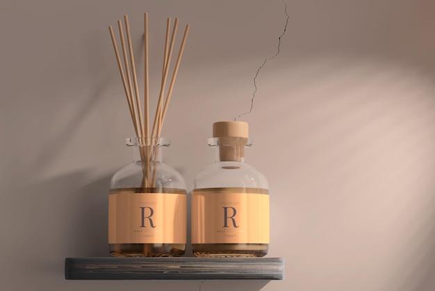 お香芳香剤リードディフューザーガラス瓶モックアップ