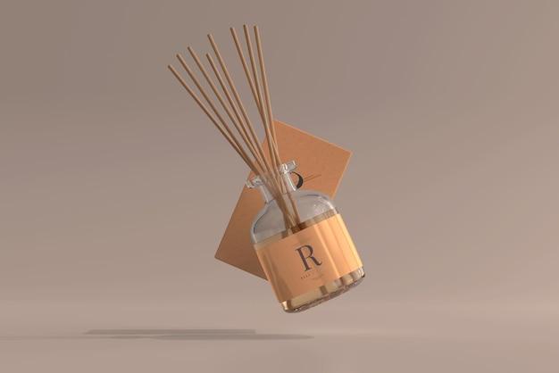 상자 목업과 향 공기 청정기 리드 디퓨저 유리 병