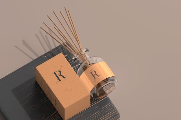 Incense air freshener reed diffuser glass bottle with box mockup