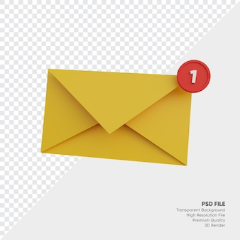 Incoming message notification 3d illustration