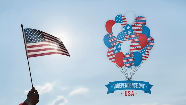 Independence day mockup with copyspace