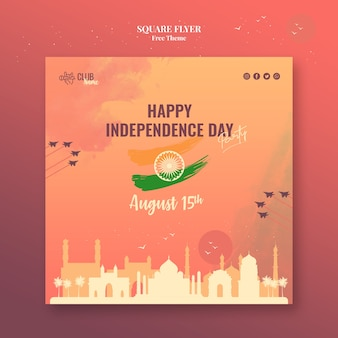 Independence day square flyer design