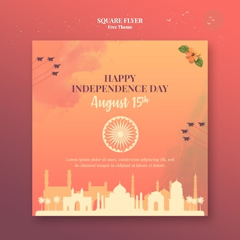 Independence day square flyer template