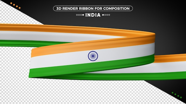 India 3d render ribbon for composition