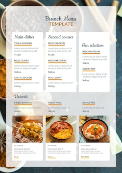 Indian food brunch menu template