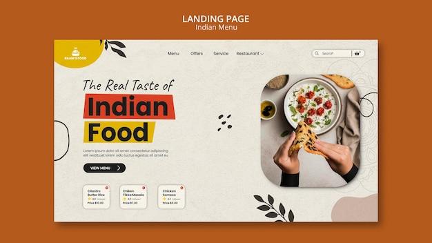 Modello di progettazione della pagina di destinazione del cibo indiano Psd Gratuite