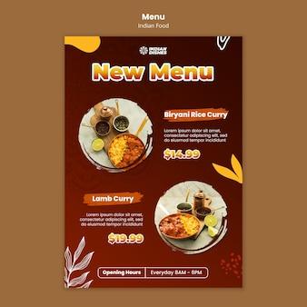 Modello di menu del ristorante di cibo indiano