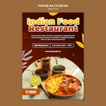 Indian food restaurant poster template