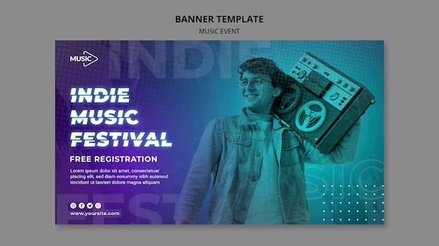 Шаблон баннера фестиваля инди-музыки Бесплатные Psd