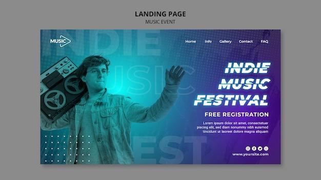インディー音楽祭のランディングページテンプレート