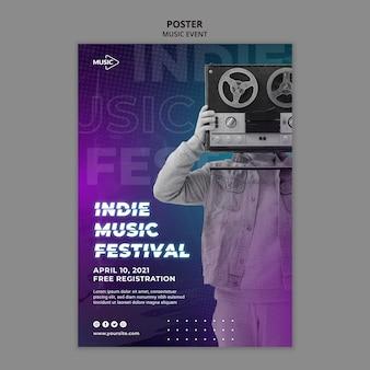 Шаблон плаката фестиваля инди-музыки
