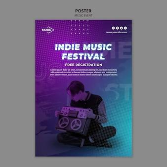 Шаблон плаката фестиваля инди-музыки Premium Psd