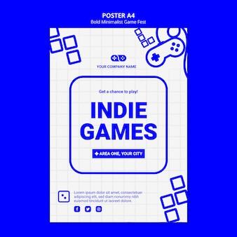 인디 비디오 게임 잼 페스트 포스터 템플릿