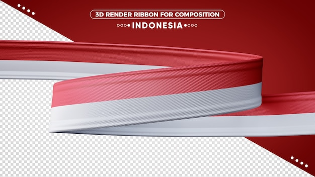 Indonesia 3d render ribbon for composition